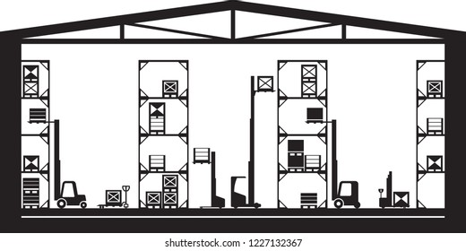 Warehouse machinery equipment - vector illustration