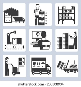 warehouse management icons set, warehouse operation icons