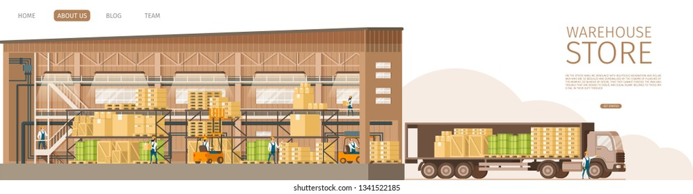 Warehouse Open Store Delivering Truck Infront. Picture of Working Storage with Weight on Shelf, Express Shipping Van Full of Cardboard Box, Wooden Tray and Pallet. Flat Cartoon Vector Illustration
