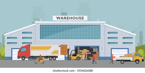 Warehouse out side. Big warehouse and transportation beside. Boxes on pallet shelves people loaders working of warehouse. Vector illustration