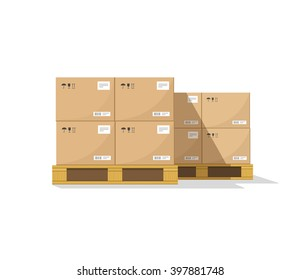 Warehouse parts boxes on wooden pallet vector illustration with shadow, cardboard cargo boxes, barcode, pictograms and abstract text stickers ready for loading, flat cartoon design isolated on white