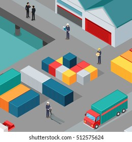 Warehouse port vector concept. Isometric projection. Cargo containers on berth at the port, managers, workers, car, hangars. Transatlantic carriage. For trade, transport, delivery company landing page
