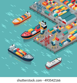 Warehouse port vector. Isometric projection. Ships with containers on the berth at the port, cranes, workers. cars, hangars ashore. Transatlantic carriage. For transport, delivery company landing page