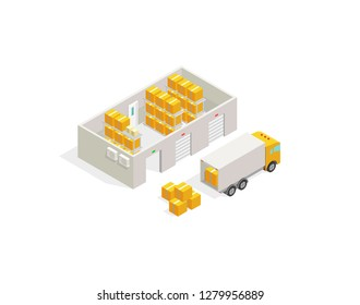 Warehouse post office, parcel delivery. Logistics transport delivery boxes and loading truck.