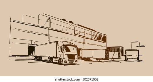 Warehouse and a semi-trailer truck sketch