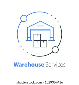 Warehouse services, distribution center, wholesale concept, supply chain, cargo transportation, vector thin line icon