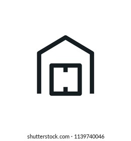 Warehouse Simple Outline Vector Icon