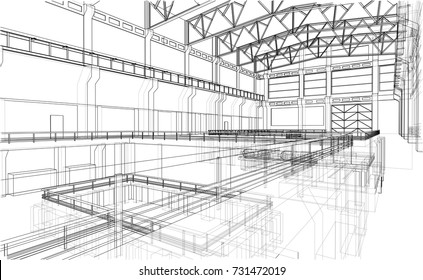 Warehouse sketch. Vector rendering of 3d. Wire-frame style. The layers of visible and invisible lines are separated