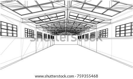 Warehouse Sketch Vector Rendering 3 D Wireframe Stock Vector ...