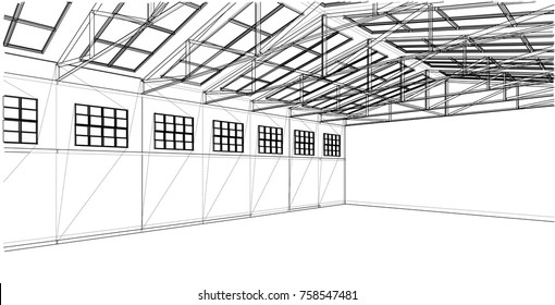 Warehouse sketch. Wire-frame style. The layers of visible and invisible lines are separated