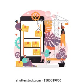 Warehouse storage app concept vector illustration. Tower crane putting cardboard boxes on big mobile phone shelves, tiny people workers. Mobile application for warehouse manager.
