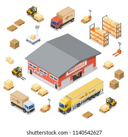 Warehouse, storage, logistics and delivery isometric icons set with storehouse, scales, truck, forklift. Isolated vector illustration