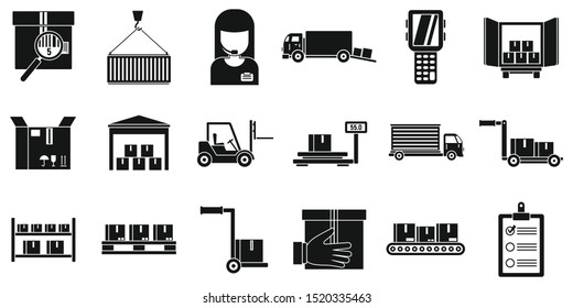 Warehouse transport icons set. Simple set of warehouse transport vector icons for web design on white background