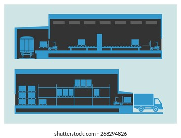 Warehouse. The unloading and loading process. Vector illustration. EPS 10. Opacity