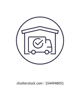 warehouse and van, delivery completed line icon