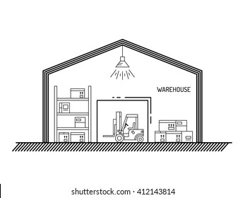 The warehouse work with loading and unloading of cargo. Warehouse complex style linear, outline. Forklift works in a warehouse. Warehouse exterior. Warehouse interior, lift truck. Warehouse outline