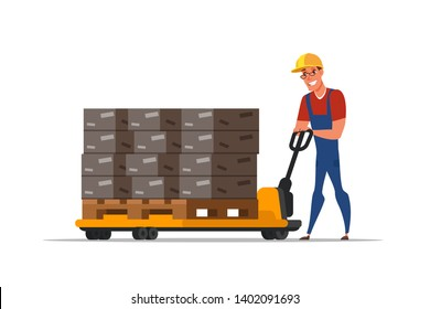 Warehouse worker cartoon character. Handymen loading cardboard boxes. Storehouse employee using forklifter professional equipment. Distribution, logistics, shipment isolated clipart