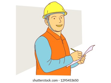 Warehouse worker in helmet and working uniform writing list
