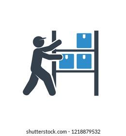 warehouse worker and shelf storage icon on white background