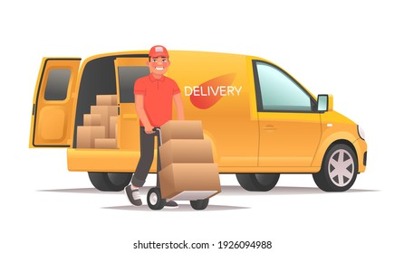 Warehouse worker unloading goods from the van. Delivery service and transport logistics. Vector illustration in cartoon style