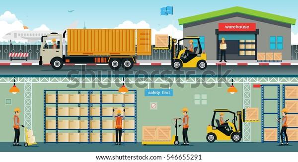 Sistemazione Merce Sugli Scaffali.Immagine Vettoriale Stock 546655291 A Tema Lavoratori Del
