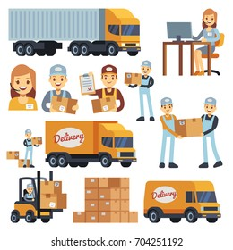 Warehouse workers cartoon vector characters - loader, delivery man, courier and operator. Warehouse delivery business illustration