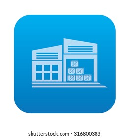 Warehouse,industry icon on blue background,clean vector