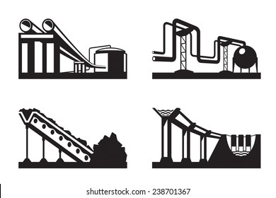 Warehouses for natural resources - vector illustration
