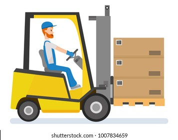 warehousing. Forklift driver stacking pallets with boxs by stacker loader.