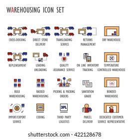 Warehousing (warehouse) vector icon set color(transloading,returns,type of ,tracking,QA,loading,replenishment,bulk,racked,picking,packing,parcel,customer,3PL,coding,import,export,cross-docking,DSD)