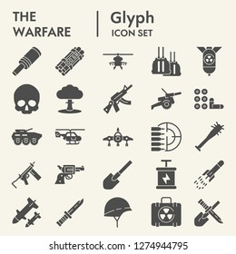 Warfare glyph icon set, army symbols collection, vector sketches, logo illustrations, war signs solid pictograms package isolated on white background, eps 10