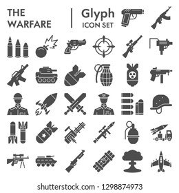 Warfare glyph icon set, war symbols collection, vector sketches, logo illustrations, weapon signs solid pictograms package isolated on white background, eps 10