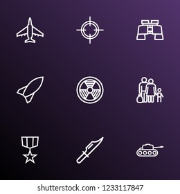 Warfare icons line style set with medal, fighter, sniper and other target  elements. Isolated vector illustration warfare icons.