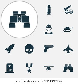 Warfare icons set with artillery, helicopter, fighter and other slug elements. Isolated vector illustration warfare icons.