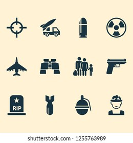 Warfare icons set with fighter, bomb, bio hazard and other bombshell elements. Isolated vector illustration warfare icons.