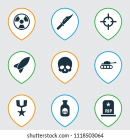 Warfare icons set with poison, medal, rocket and other missile elements. Isolated vector illustration warfare icons.