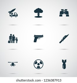 Warfare icons set with refugee, gun, knife and other fugitive elements. Isolated vector illustration warfare icons.