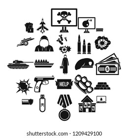 Warfare icons set. Simple set of 25 warfare vector icons for web isolated on white background