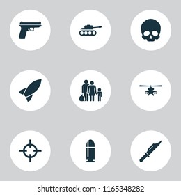 Warfare icons set with skull, sniper, refugee and other cutter elements. Isolated vector illustration warfare icons.