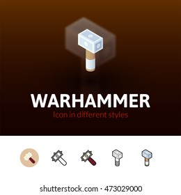 Warhammer color icon, vector symbol in flat, outline and isometric style isolated on blur background