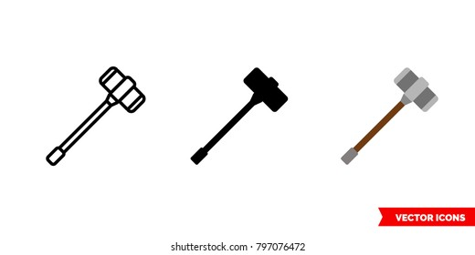 Warhammer icon of 3 types: color, black and white, outline. Isolated vector sign symbol.