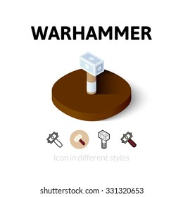 Warhammer icon, vector symbol in flat, outline and isometric style