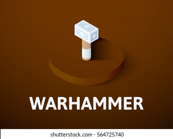 Warhammer icon, vector symbol in flat isometric style isolated on color background