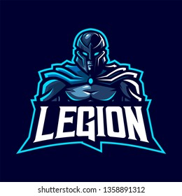 Warior Mascot Logo for Sport and Esport isolated on dark Background