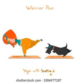 warior pose virabhadrasana Cute little girl and her dog scottie doing yoga isolated on white background