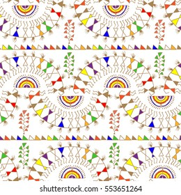 Warli Art painting seamless pattern - hand drawn traditional the ancient tribal art India. Pictorial language is matched by a rudimentary technique depicting rural life of the inhabitants of India.
