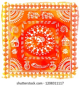 Warli painting - hand drawn traditional the ancient tribal art India. In the style of Indian kitsch matched by a rudimentary technique depicting rural life of the inhabitants of India