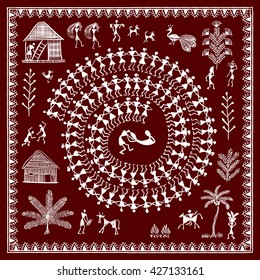Warli painting - hand drawn traditional the ancient tribal art India. Pictorial language is matched by a rudimentary technique depicting rural life of the inhabitants of India