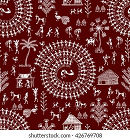 Warli painting seamless pattern - hand drawn traditional the ancient tribal art India. Pictorial language is matched by a rudimentary technique depicting rural life of the inhabitants of India.