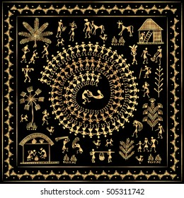 Warli peynting - hand drawn traditional the ancient tribal art India. Rudimentary Technique depicting rural life of the inhabitants of India. Gold on a black background